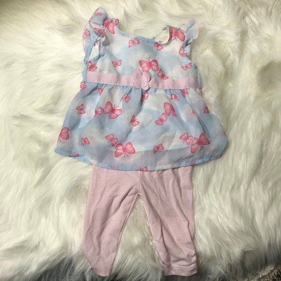 Healthtex butterfly 2 piece outfit 0-3M